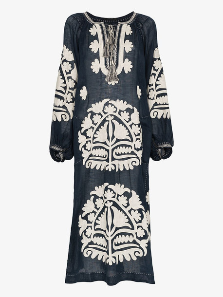 Vita Kin Shalimar embroidered midi-dress in blue