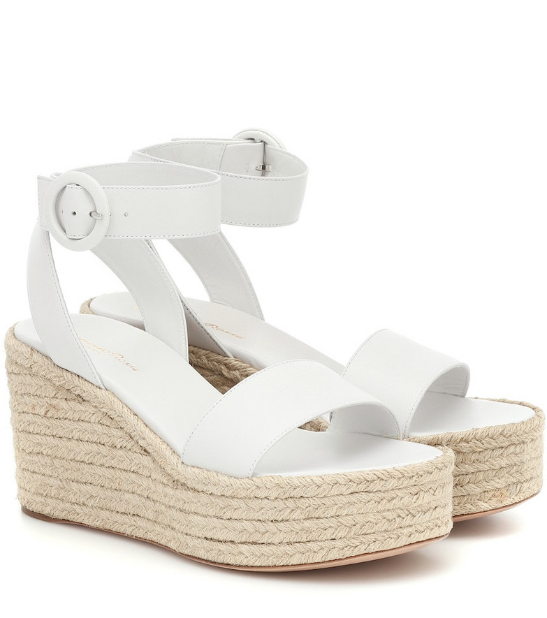 Gianvito Rossi Exclusive to Mytheresa – Leather espadrille wedges in white