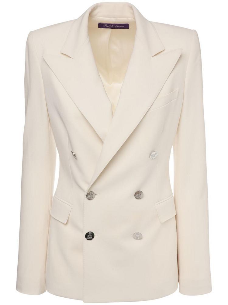 RALPH LAUREN COLLECTION Wool Crepe Double Breast Camden Jacket in ivory