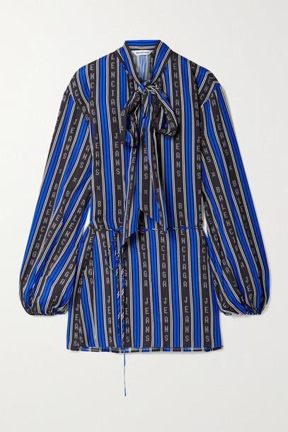 BALENCIAGA - Tie-neck Striped Twill Wrap Top - Blue