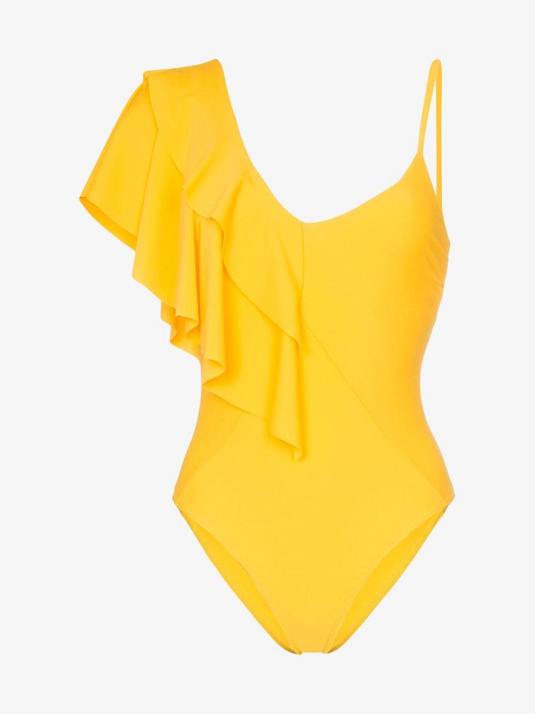 Paper London Sollier one-shoulder ruffle swimsuit in yellow