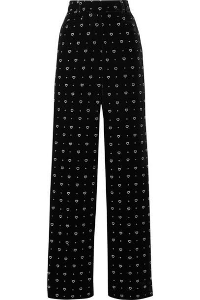 Paul & Joe - Glittered Velvet Straight-leg Pants - Black