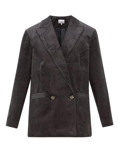 Ganni - Double Breasted Cotton Corduroy Blazer - Womens - Dark Grey