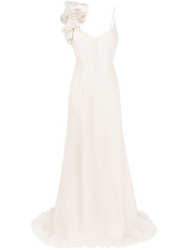 Parlor ruffle trim silk evening gown in neutrals