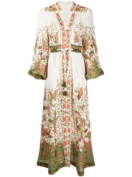 Zimmermann floral print billowing sleeve dress in neutrals