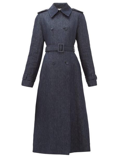 Gabriela Hearst - Augustin Belted Linen-chambray Coat - Womens - Denim