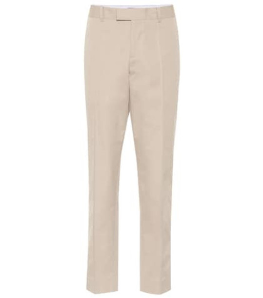 Bottega Veneta High-rise straight cotton pants in beige