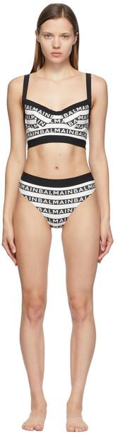 Balmain Black & White All-Over Logo Bikini