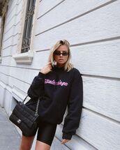 sweater,black hoodie,balenciaga,black bag,chanel bag,black shorts,nike black leggings