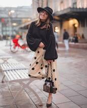 pants,wide-leg pants,high waisted pants,polka dots,pumps,shoulder bag,oversized sweater,black sweater,felt hat