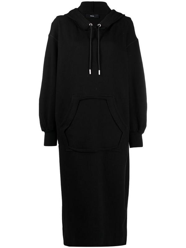 Diesel slogan-print hooded cotton dress in black