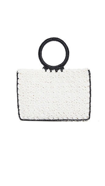 Caterina Bertini Woven Tote Bag with Structured Handles in black / ivory