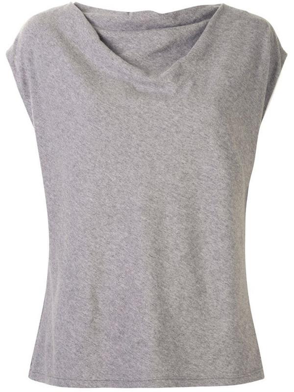 RtA draped-design cap-sleeve T-shirt in grey