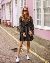 dress,black dress,long sleeve dress,babydoll dress,sneakers,black bag