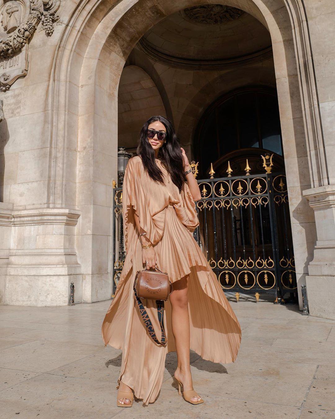 skirt pleated skirt stella mccartney asymmetrical skirt top sandal heels bag