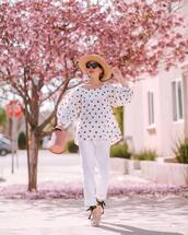 top,white blouse,polka dots,white shirt,straight pants,platform shoes,bucket bag,felt hat