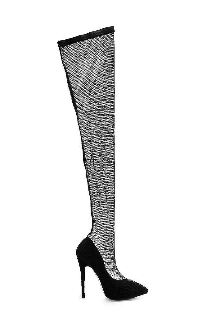 shoes black heels stockings net grid