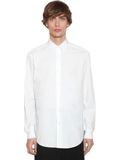 LOEWE Embroidered Anagram Cotton Poplin Shirt White