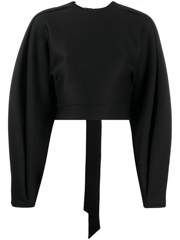 Beaufille wide-sleeve cut-out top in black
