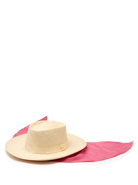 House Of Lafayette - Reed Sink 1 Satin Trimmed Straw Panama Hat - Womens - Pink