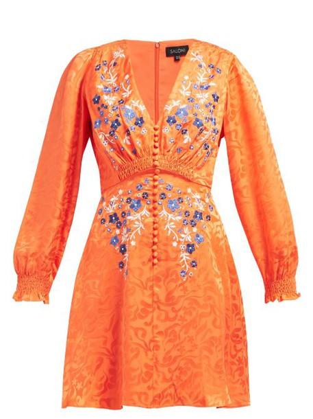 Saloni - Eve Floral Jacquard Silk Mini Dress - Womens - Orange Multi