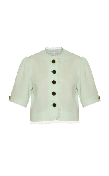 George Keburia Frill-Embellished Linen Blouse Size: S in green