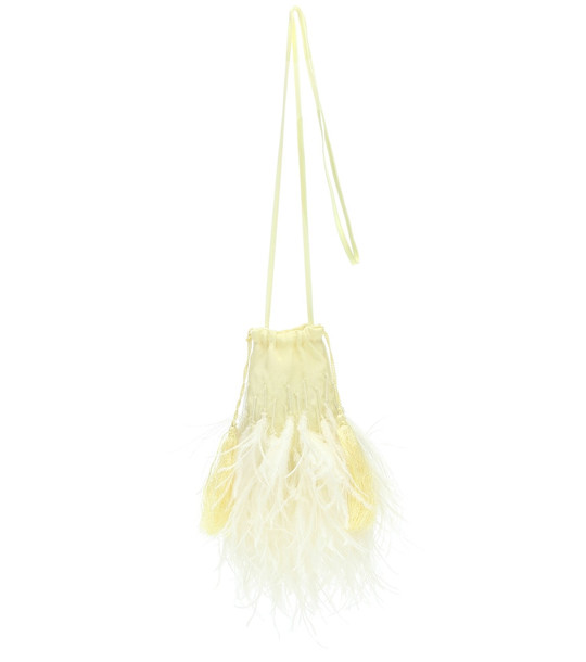 The Attico Feather-trimmed embellished pouch in yellow