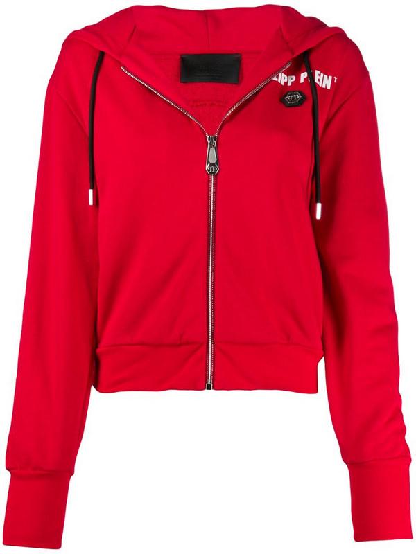 Philipp Plein zip-up logo print hoodie in red