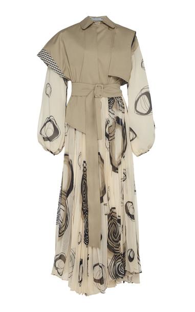 Silvia Tcherassi Sombrero Volteao Cotton-Blend Trench Dress Size: S in neutral