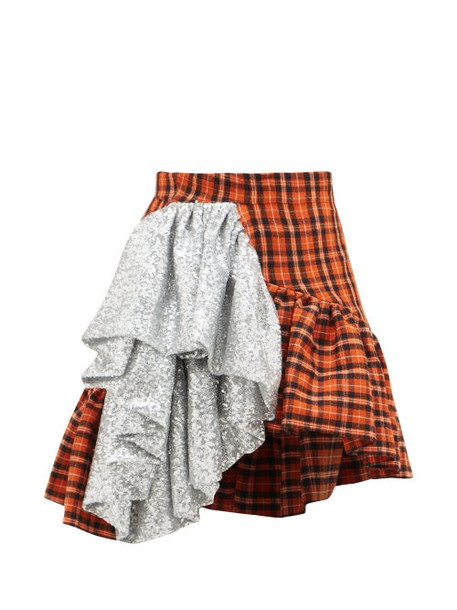 Germanier - Sequin-ruffle Asymmetric Checked-cotton Mini Skirt - Womens - Silver Multi