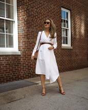 dress,white dress,asymmetrical dress,long sleeve dress,belted dress,midi dress,sandal heels,brown bag