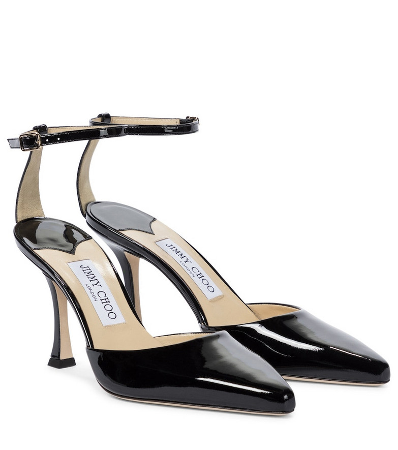 Jimmy Choo Mair 90 patent leather pumps in black