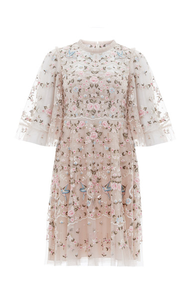 Needle & Thread Regency Embroidered Tulle Mini Dress in pink