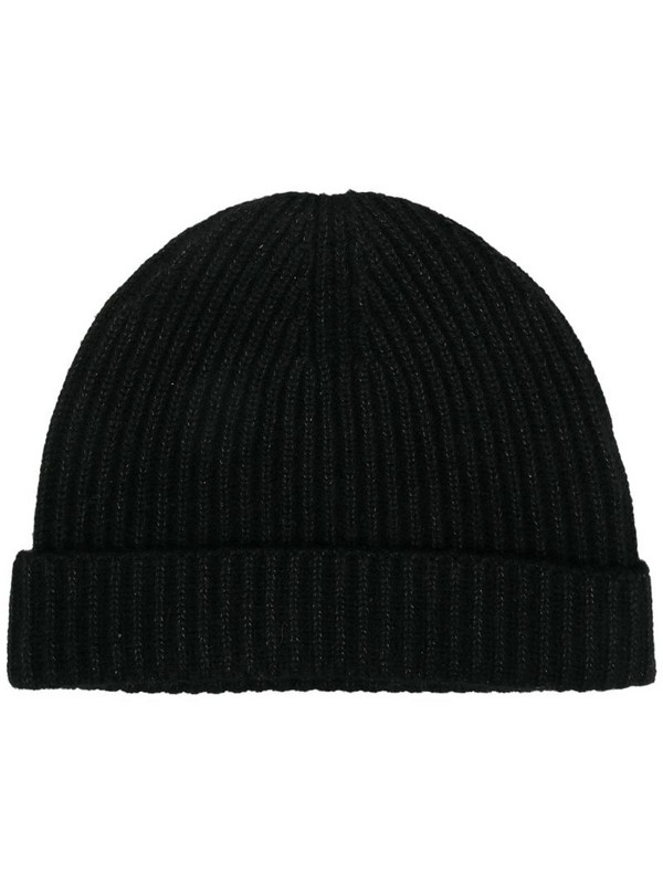 N.Peal metallic-thread ribbed knit beanie in black