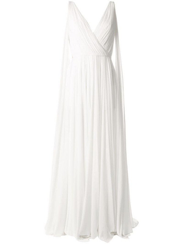 Saiid Kobeisy long-length ruched gown in white