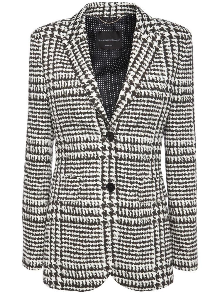 ERMANNO SCERVINO Printed Cady Single Breast Jacket in black / white