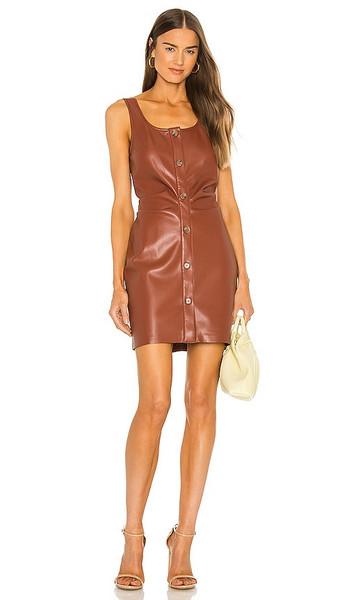 Nanushka Vegan Leather Ernie Dress in Brown in brick