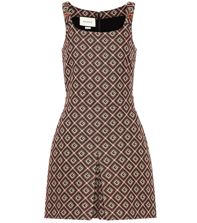 Gucci Printed cotton-blend playsuit in brown