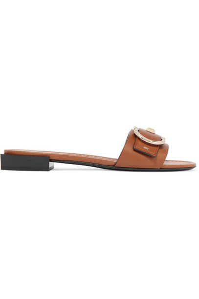 Salvatore Ferragamo - Solar Embellished Leather Slides - Tan