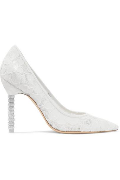 Sophia Webster - Coco Crystal-embellished Lace Pumps - White