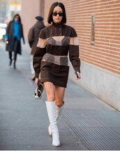 shoes,white boots,knee high boots,mini dress,fendi,long sleeve dress