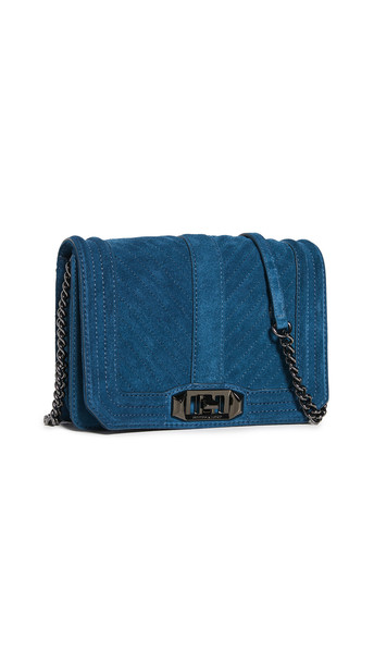 Rebecca Minkoff Chevron Quilted Small Love Crossbody Bag in teal