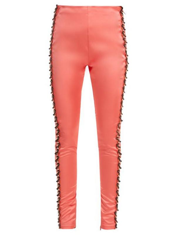 Koché Koché - Bead Embellished Side Stripe Satin Trousers - Womens - Coral