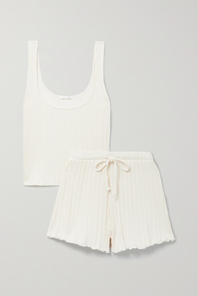 Skin - Rayleigh Ribbed Pima Cotton Tank And Shorts Set - Ecru
