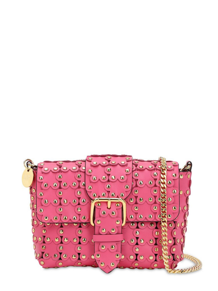 RED V Small Flower Puzzle Leather Bag in pink