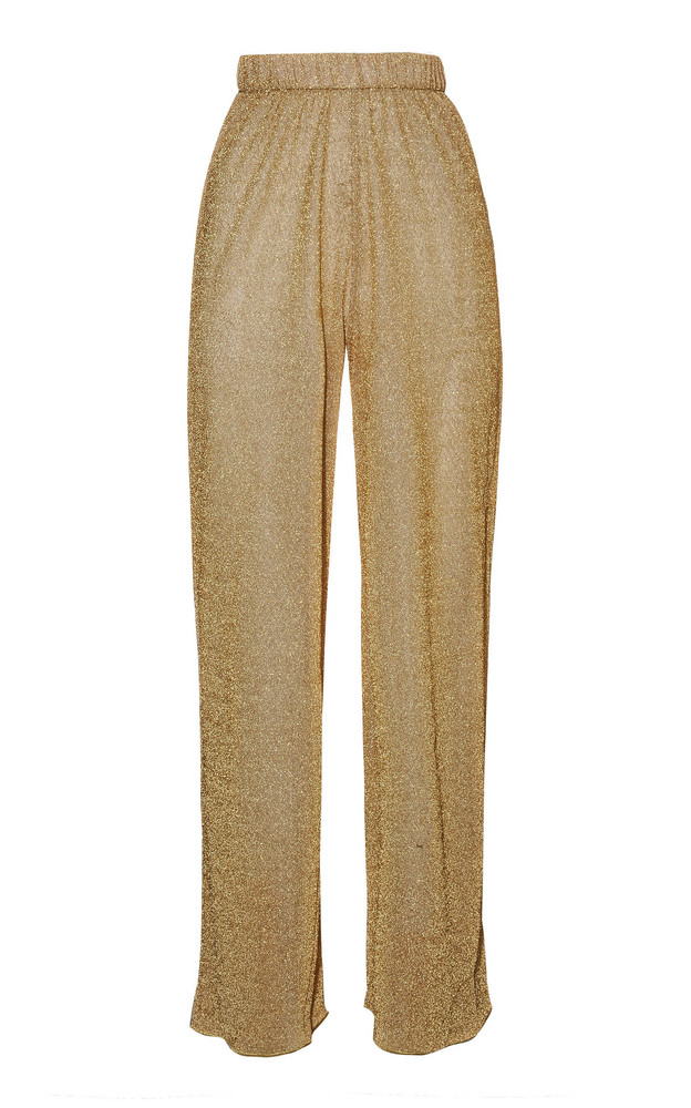 Oseree Lumière Stretch-Lurex Straight-Leg Pants in gold