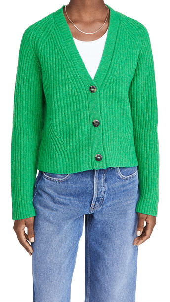 GANNI Rib Knit Cardigan in green