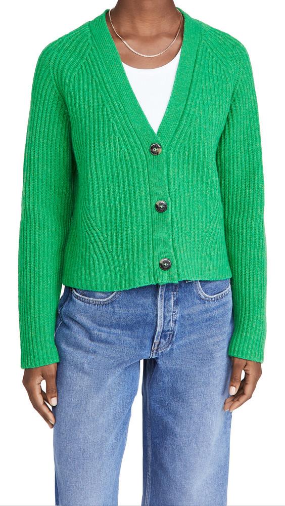 GANNI Rib Knit Cardigan in green
