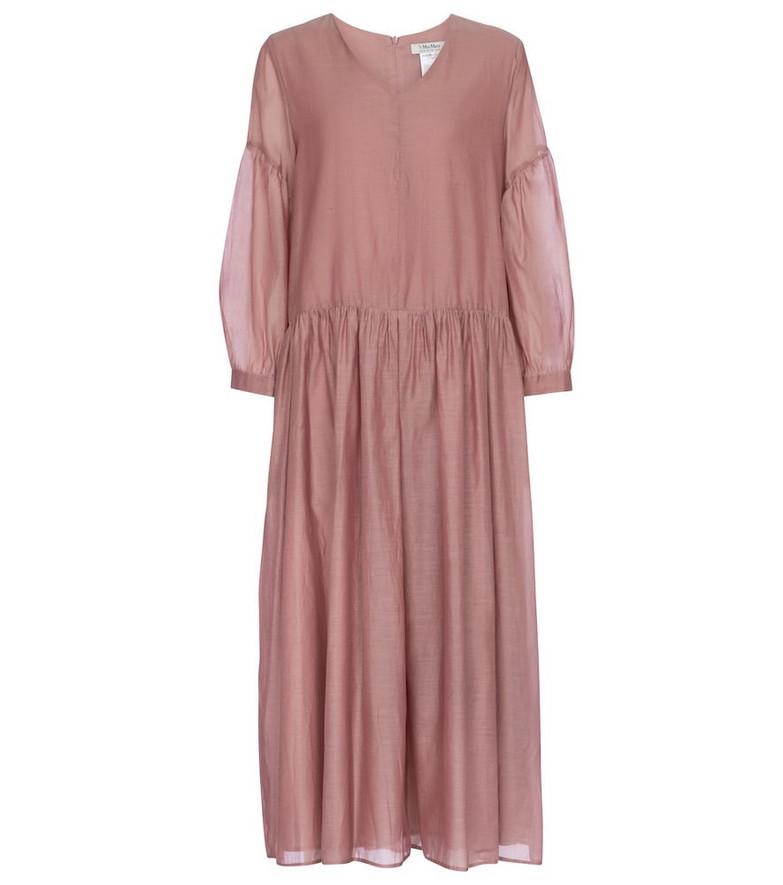 S Max Mara Adorno cotton and silk organza midi dress in pink