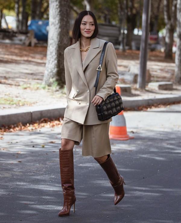 jacket blazer oversized double breasted knee high boots short black bag
